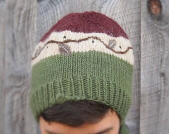 CABIN Hat : Hand Knit Hat with Needle Felt Motif, Wool/Mohair blend
