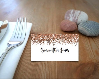 Copper Glitter Printable Place Cards