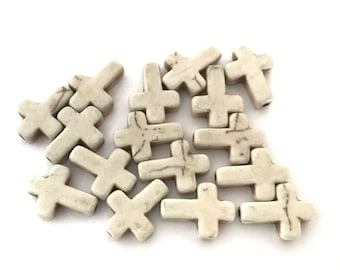 2x Cream / Off-white Howlite Stone Cross - B064