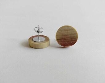 Poplar Wood Wooden Stud Earrings, Earrings for Women, Gift For Her, Wooden Earrings, Minimalist Earrings, Wooden Jewelry, Unique Earrings