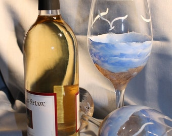 Hand Painted Wine Glasses - Beach and Sand (Set of 2)