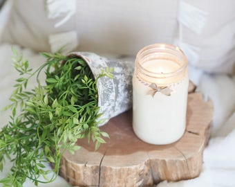 Green Apple + Jasmine, Hand Poured, Mason Jar Candle, Spring Collection, Spring Scent