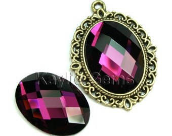 Mirror Glass Cabochon Cab Oval 18x25  Checker Cut Faceted Dome -Amethyst- 2pcs