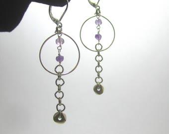 Sterling Silver Stone Hoop Chain Earrings