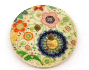 Set of 5 buttons wood Floral Theme (5) - 23 mm - 2 holes