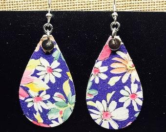 Leather earrings, Earrings, Leather, Small earrings, Petite earrings, Floral earrings, Lightweight earrings, Navy background, Drop earrings
