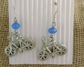 Bicycle Earrings , Mountain Bike Earrings , Bicycle Jewelry , Spin Class Earrings ,  Spin Class Jewelry , Cycling , Woman's Cycling , Woman