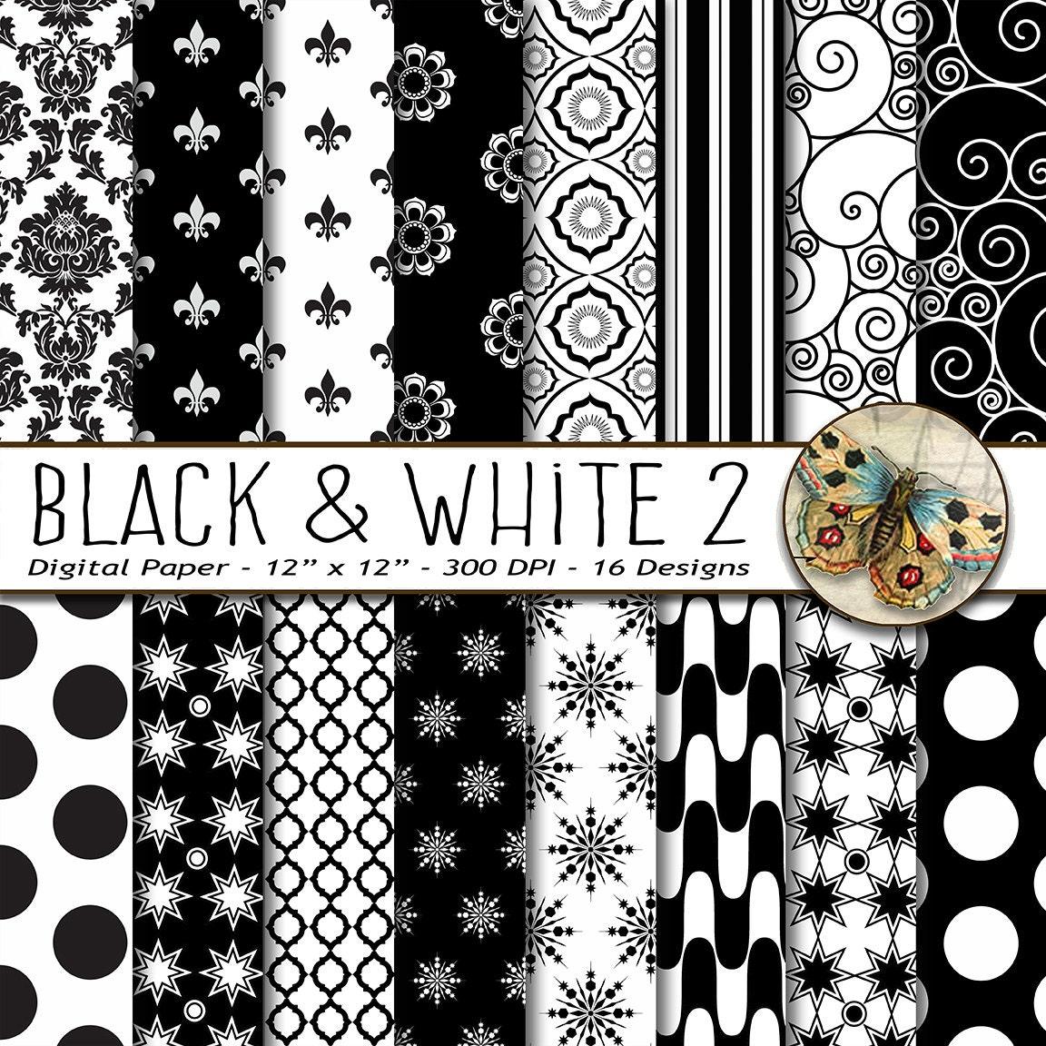 Schwarz und weiß digitalem Papier schwarz / weiß Muster