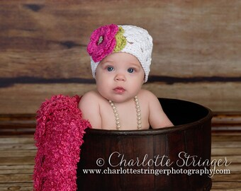 The Sofia Flower Beanie in White, Hot Pink, and Celery Green Available in Newborn to Tween Size- MADE TO ORDER