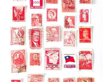 25 x red, used postage stamps from 20 different countries, all off paper for collage, stamp collecting, crafting and scrapbooking