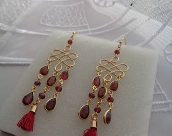 Garnet earrings, 585 gold filled, Bollywood style