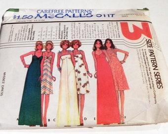 """1970s Empire waist Evening Gown Boho dress sleeveless halter sundress sewing pattern McCalls 5117 Size 10 12 14 Bust 32.5 34 36"""""""