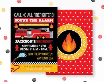 Fire Truck Invitations, Firefighter Birthday, Firetruck Birthday, Fire Truck Party Invite, Boys Birthday, Firefighter Invitation, #56