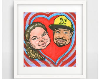 Couple Caricature in a Heart Gift from photo personalized portrait character art by Moloriki acrylic painting to order art