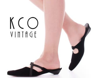 Vintage Black Velvet Flats 1990's Minimalist Slip On Shoes Women's Size 9 / Strappy Elastic Short Cone Heel Sandals US9 / UK 7 / EUR 39 - 40