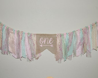 Pink Mint and Gold 1st 2nd 3rd birthday banner. ONE TWO THREE rag tie full banner for high chair or decoration photo props & more