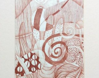 original drawing - COFFEE //  11x14 art // original art // pencil sketch // wall art // sepia // espresso // 8x10 // spiral // brown
