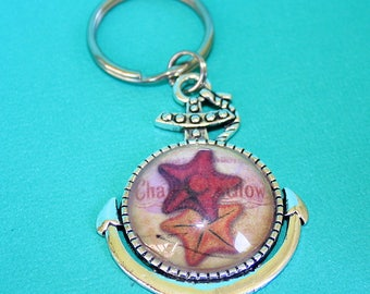 Étoile de mer ancre collier ou porte-clé - pendentif Cabochon en verre - vous choisissez le collier ou porte-clés