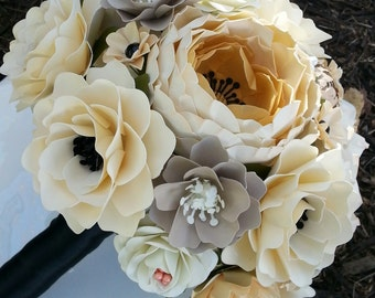 Paper Bouquet - Paper Flower Bouquet - Wedding Bouquet - Ivory Gold and Black - Custom Made - Any Color