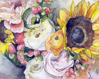 "Sunflower Painting - Print from Original Watercolor Painting, ""Sunflowers"", Bouquet, Yellow Sunflowers"