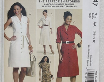 """Sz 6 8 10 12  Bust 30.5""""- 34"""" McCall's Perfect Shirt Dress Sewing Pattern 5847  Palmer/Pletsch Classic Fit With Sleeve Variations"""