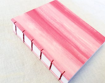 Watercolor stripes Coptic stitch sketchbook journal
