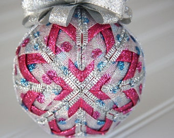Quilted Christmas Ornament Ball/Silver, Pink and Blue - Dot to Dot