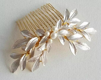 Gold bridal hair comb - Gold hairpiece -Bridal hairpiece