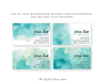 Watercolour business card design - graphic design - Editable psd files - Mint business branding - DIY Business branding - Editable templates