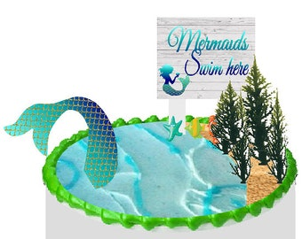 Cake / Food / Cupcake Decoration Plant Tree Topper Picks with Plaque (Mermaid)