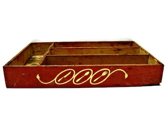Wood Cutlery Tray, Vintage Red and White Art Deco Wooden Divided Flatware Silverware Utensil Holder with Decorations