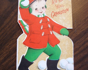 1950s USED Card, Christmas Card, no envelope, for Grandson, glitter