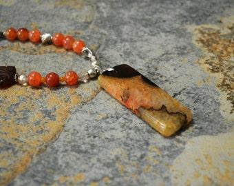 Fan the Flames! Deep Brown Orange DRUZY Geode Pendant, One Fan Shape Fancy & Orange FIRE Agates, Crystals, TIBET Silver Bead Necklace 18 in