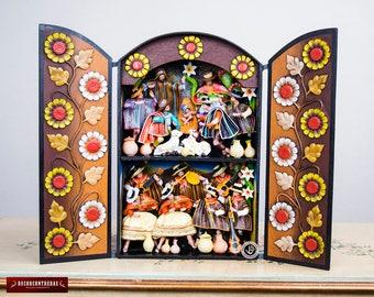 """Peru Large retablo folk art sculpture """"Andean Christmas""""- Wood Peruvian Retablos - Collectible Peruvian Ornaments - Wood Multicolor Diorama"""