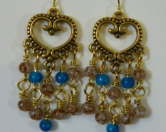 Gold Heart Gypsy Dangles - Free Shipping
