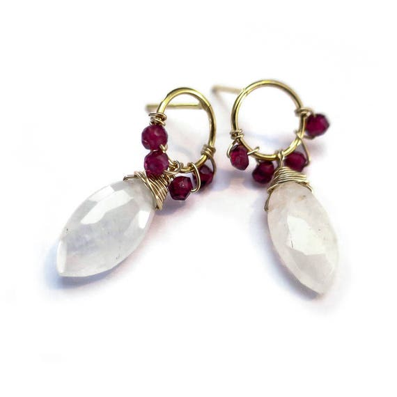 Wire Wrapped Garnet + White Crystal Stud Earrings