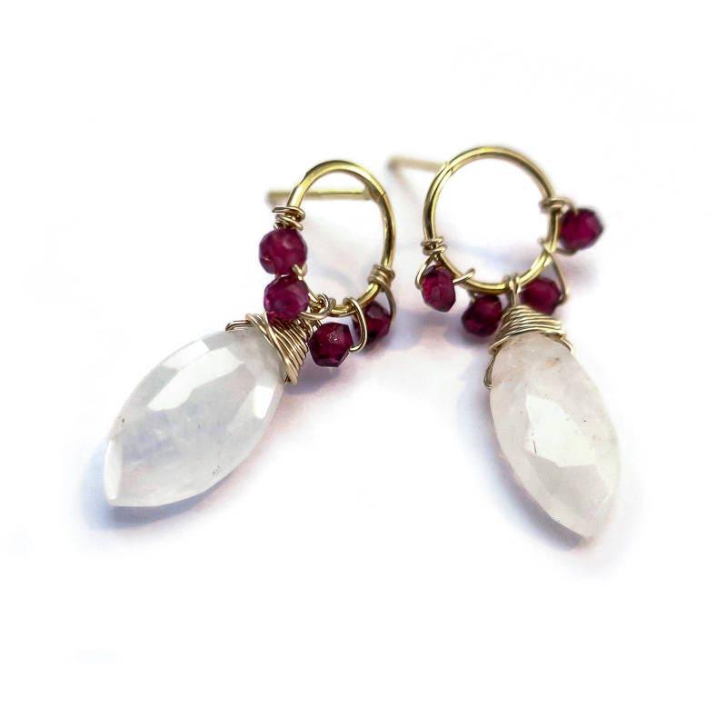 Wire Wrapped Garnet White Crystal Stud Earrings