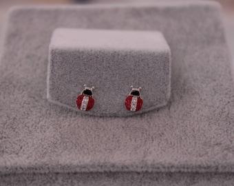 Red Ladybird Silver Earrings