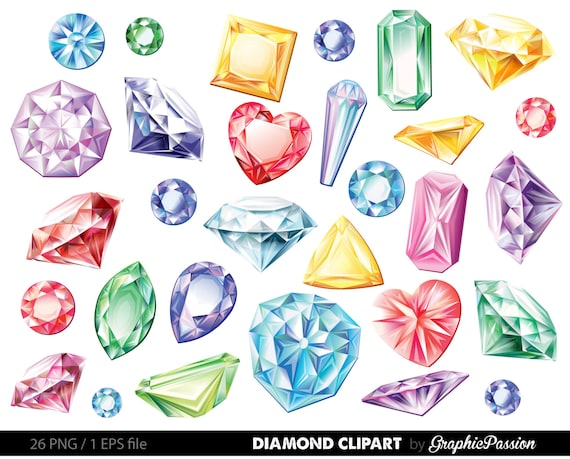 diamonds clipart vector gems clip art digital gemstone rh etsy com diamond clipart transparent diamond clipart black and white