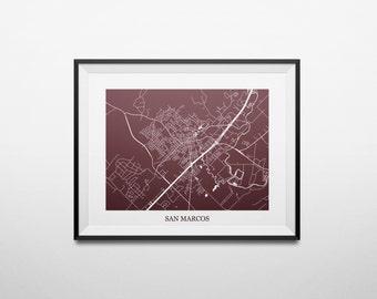 San Marcos, Texas, Texas State University Abstract Street Map Print