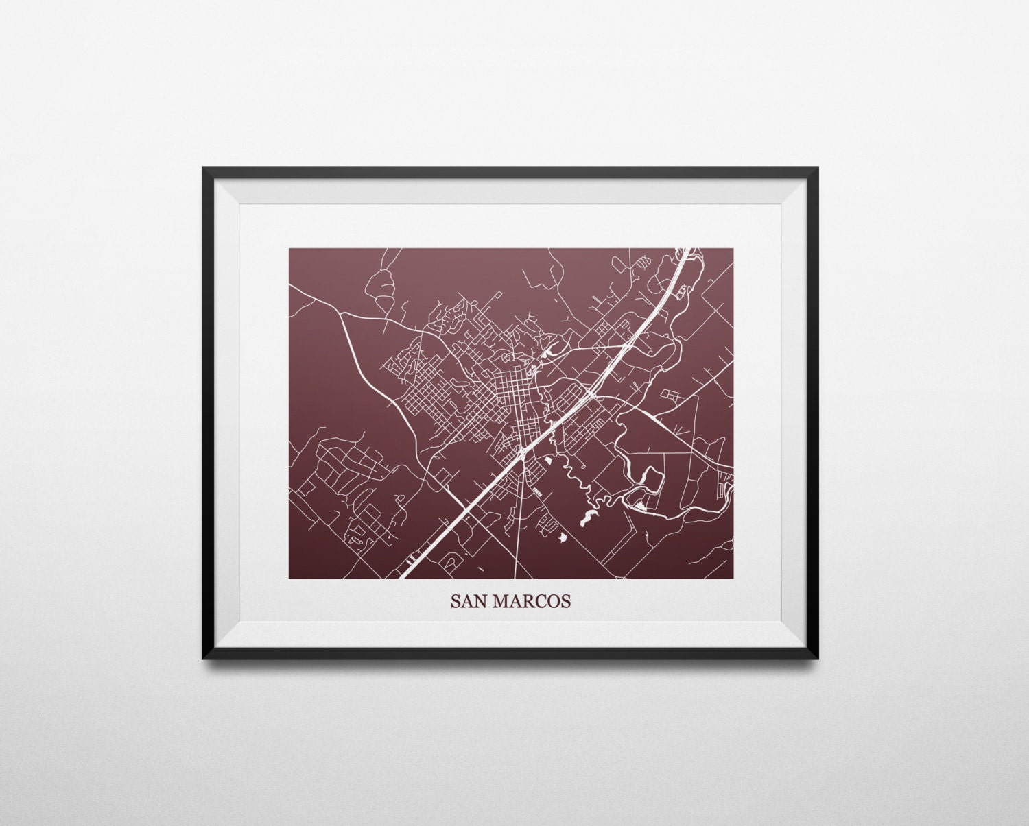 San Marcos Texas Texas State University Abstract Street Map