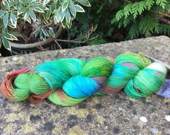 """100grms hand painted Merino singles lace weight yarn """"forest floor"""""""