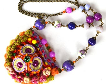 colorful pom pom necklace, quirky mexican necklace, green purple folk necklace, green boho necklace, unique crochet necklace