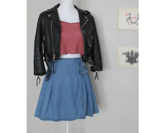 90s Grunge Pleated Denim Wrap Skirt