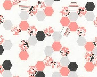 Robert Kaufman Fabrics - Palm Canyon by Violet Craft - Coral Hex Patterns - Modern Maker Box
