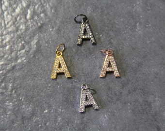 "CZ Micro Pave Letter ""A"" Charm with Jump Ring"