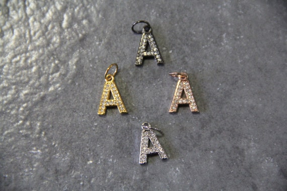 """CZ Micro Pave Letter """"A"""" Charm with Jump Ring"""