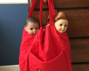 This pretty bag is handmade to carry such dolls and clothes for the 18 inch American Girl, Madame Alexander and My Life.