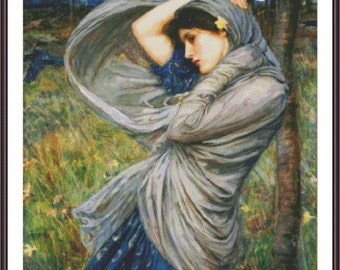 Art Cross Stitch Chart | Boreas by William Waterhouse | Counted Cross Stitch Pattern | Painting Stitch | Needlepoint Pattern | Printable PDF