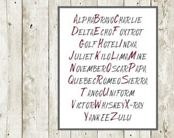Alpha Bravo Charlie, Aviation Alphabet, Pilot Prints, Army Phonetic Alphabet, Pilot Alphabet, Alphabet Poster, ABC Poster, Digital Printable